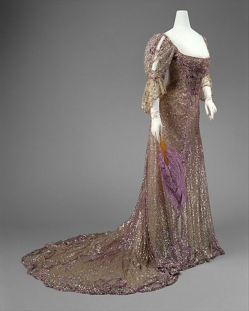 1902 silk and sequin evening dress by Henriette Favre, French.
