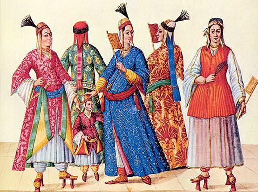 Image of palace women from I Turchi. Codex Vindobonensis 8626.  1586-1591.