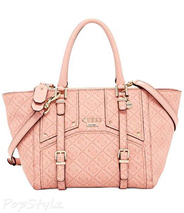 Guess Rikki Satchel Logo Embossed Handbag