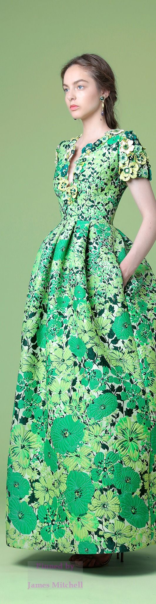 True Spring (12-Tone | Sci\ART method colour analysis) | Andrew Gn Resort 15: floral green gown.