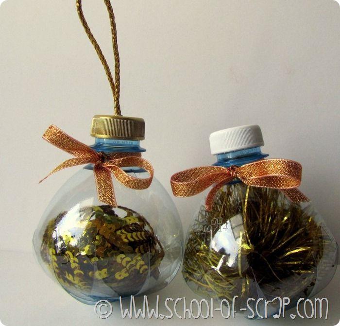 Bottiglie di plastica diventano Palline per l'albero di Natale