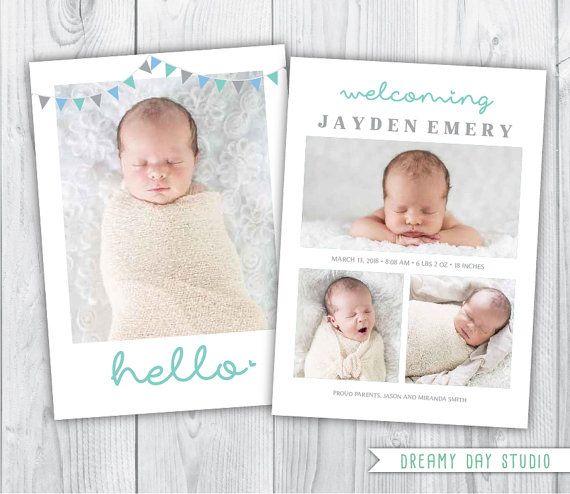 hello birth announcement / birth announcement / by dreamydaystudio