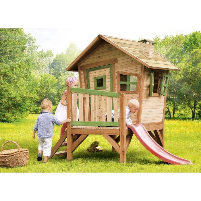 BALANÇOIRE - PORTIQUE AXI Maisonnette Enfant Cabane en bois sur pilotis Robin