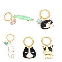 Cute Animal Keychain Dog Black Cat Kitty Polar Bear Crocodile Fox Key Chain Corgi Bulldog Puppy Keyring Accessories Pet Jewelry(China (Mainland))