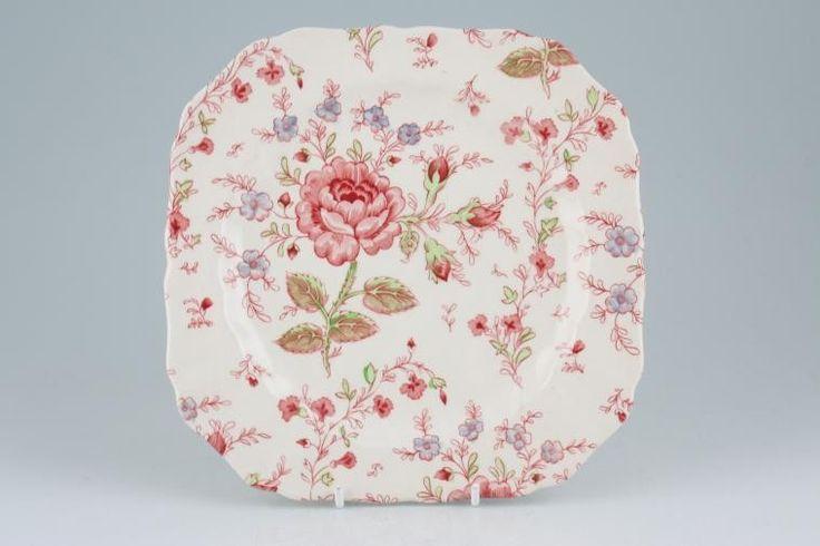 Johnson Brothers - Rose Chintz - Pink - Starter / Salad / Dessert Plate - Square