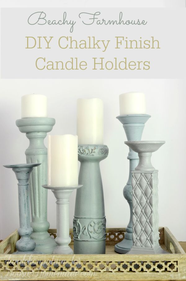 Where's the beach? Why not bring a piece of the beach to you. Transform your old and tired candle holders into a vignette of beachy farmhouse delight. Americana chalky finish paints and creme wax.