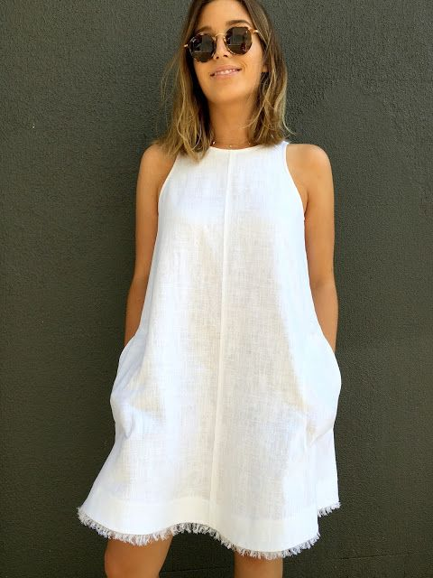 Make a DIY linen dress perfect for spring and summer! Follow this tutorial from Sew Tessuti to sew a lightweight dress with frayed edges. Click in for helpful sewing tips.