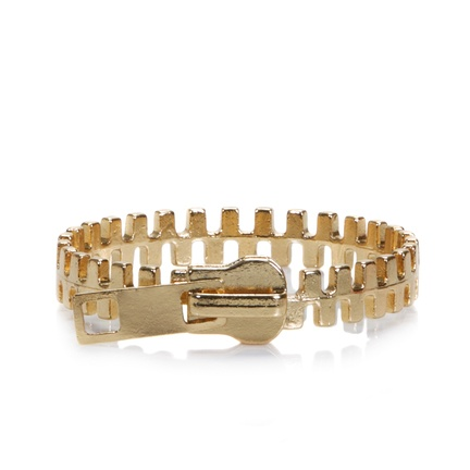 """Hot trend alert: Zippers come off of clothing and onto your wrist with the Zelda bangle.   - Goldtone metal  - 1/2"""" wide   $28Zippers Bangles, Zelda Bracelets, Style, Whimsical Beautiful, Shops, Trends Alert, Zelda Gold, Hot Trends, Jewelry Boxes"""