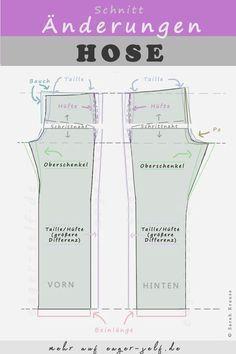 Hose nähen oder ändern: Mit dieser Bildanleitung lernst du schnell und einfach, wo du welche Änderungen am Schnitt vornimmst, damit die Hose passt.