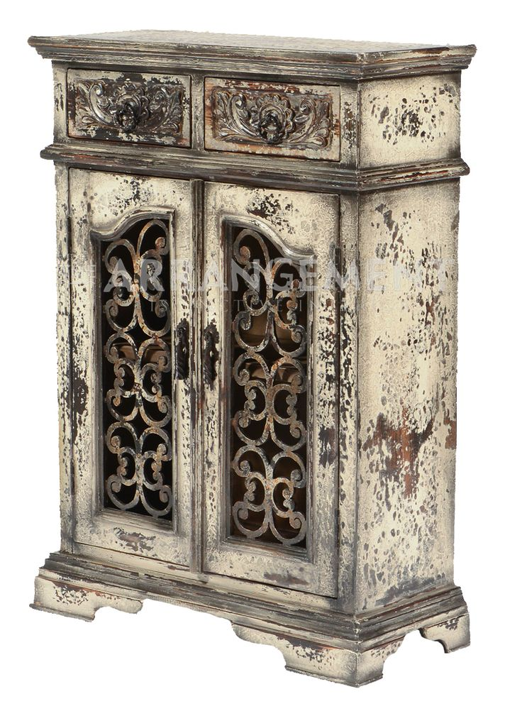 Antique Iron Amp Wood Cabinet Wrought Iron Door Inlay On A
