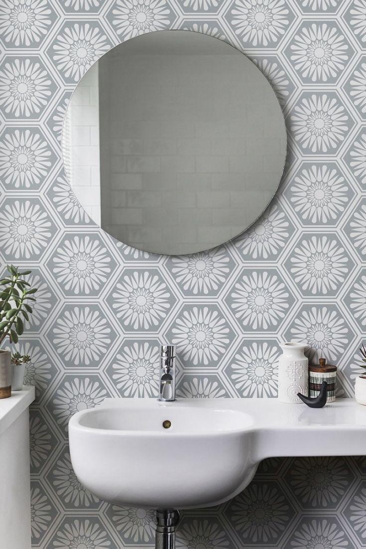 Hex Misty Grey Wallpaper Accent Wall Bathroom Grey Wallpaper Wallpaper Accent Wall
