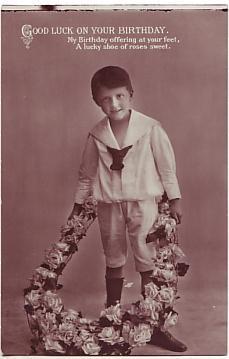 E A Schwerdtfeger Postcard - Good Luck on Your Birthday c1909