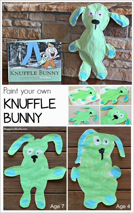 Art Activity for Kids: Paint your own Knuffle Bunny! (Inspired by children's books by Mo Willems)- can be adapted for preschool, kindergarten and…