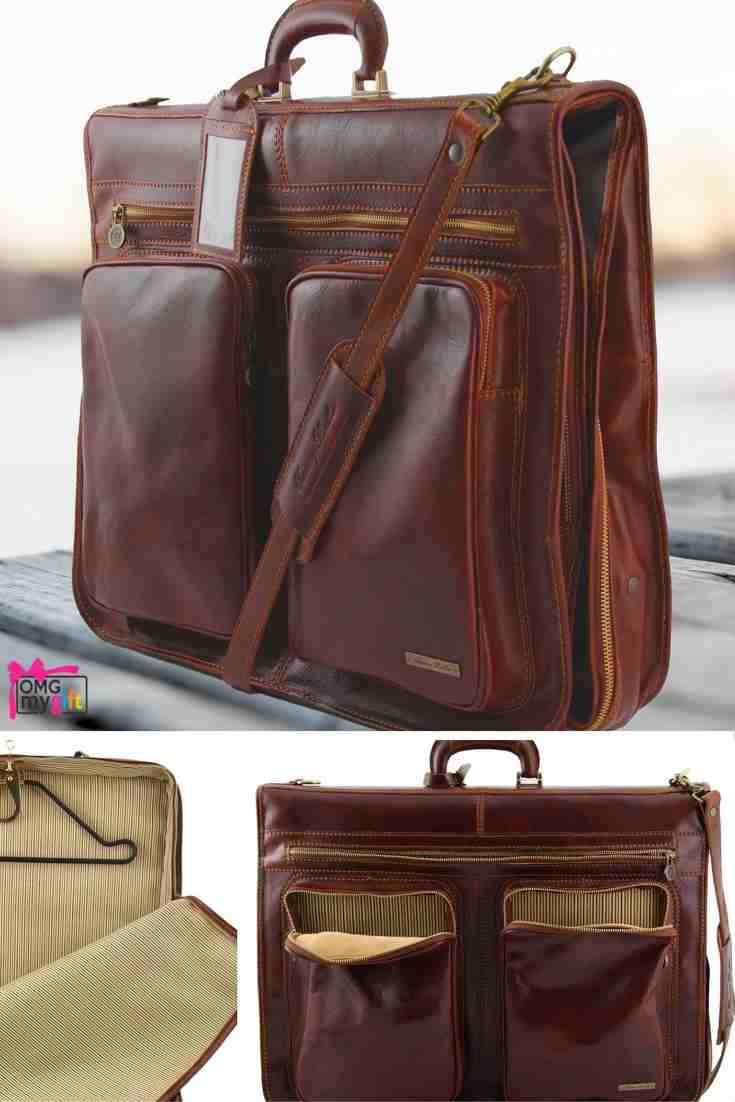 Italian leather suit carrier, the Tahiti by Tuscany Leather.  Have your leather bag personalised as an extra special touch, if you are giving the bag as a gift. Gifts For Him