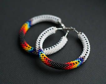 Native American Inspired Hoops, Navajo Inspired Hoop Earrings, Ethnic Earrings, Bead Crochet Earrings, Patchwork Earrings, Colorful Earrings