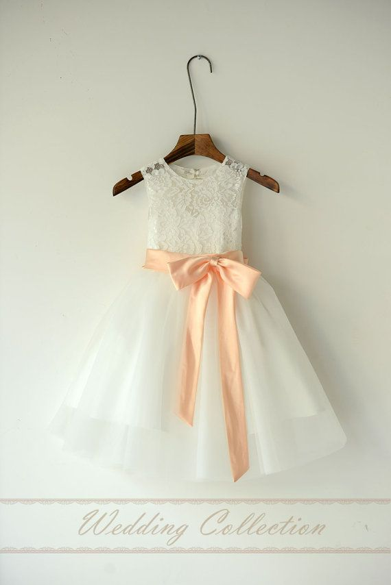Ella and Sophie - maybe ...Ivory Lace Tulle Flower Girl Dress With Peach by Weddingcollection