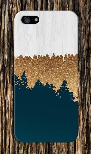Geometric Gold Glitter Navy Blue Wood Phone Case, iPhone 6, iPhone 6 Plus, Tough…