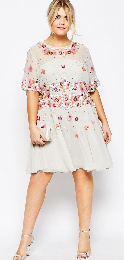 Plus Size Skater Dress with Embellishment