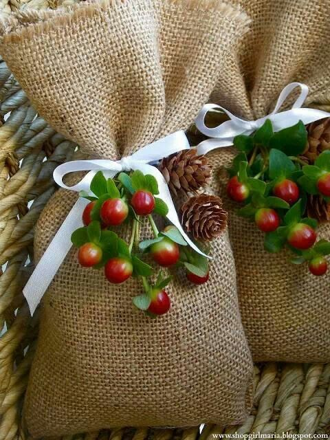 Burlap holiday treat bags