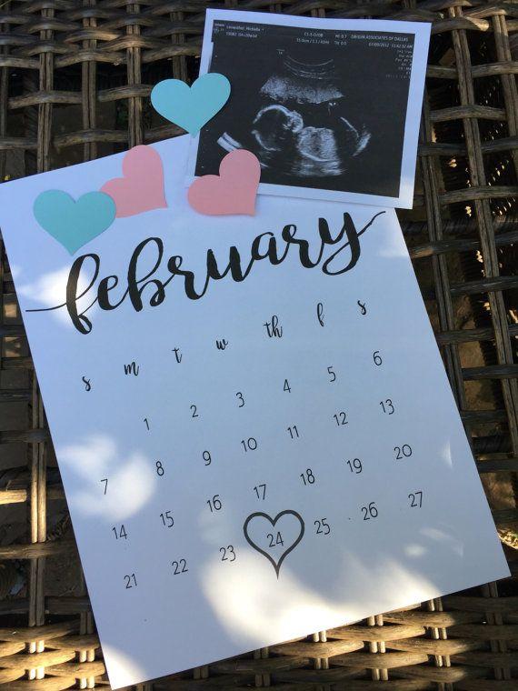 Pregnancy Announcement Calendar Announcement by sweetinvitationco