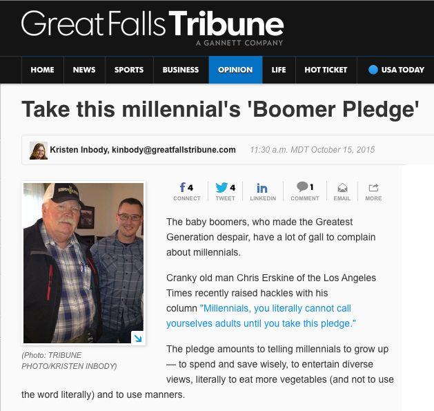 The baby boomers, who made the Greatest Generation despair, have a lot of gall to complain about millennials... As part of the millennial generation (ages 18-34), I'd like to offer this Boomer Pledge in response: