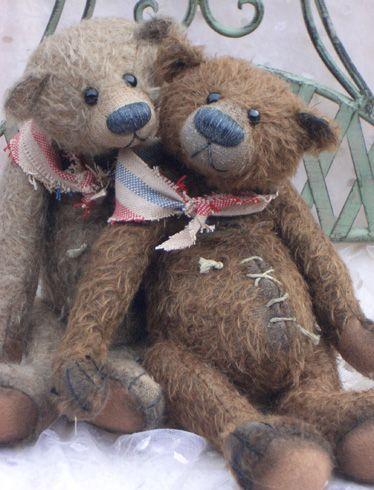 .Well-loved vintage bears.