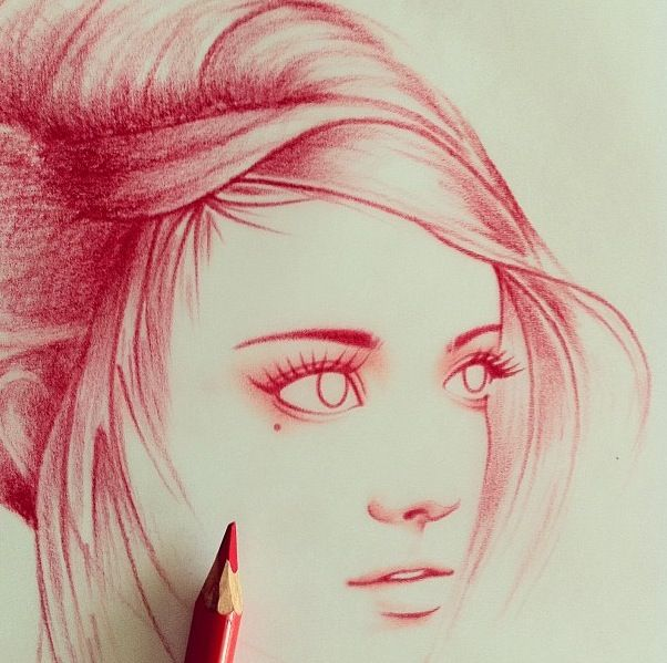 Red colored pencil sketch wow