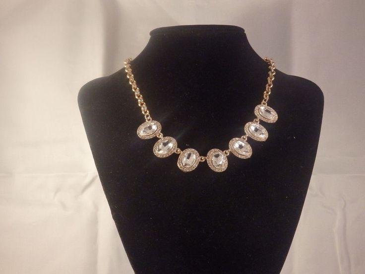 Statement Rhinestone Crystal Collar Necklace Earing set Retro Bridal Jewellery