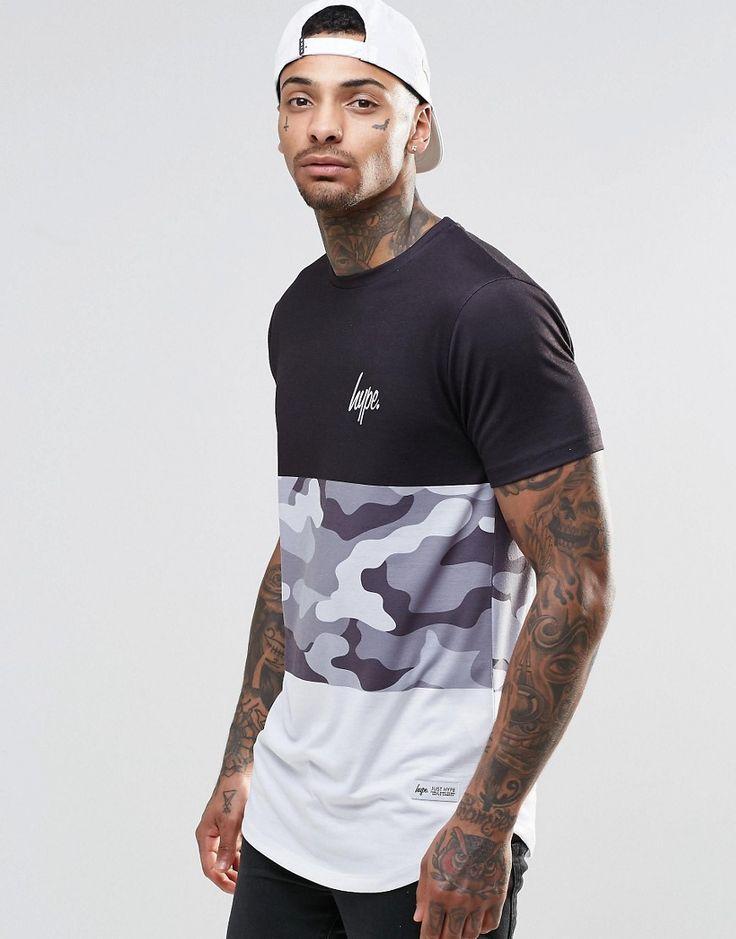 Imagen 1 de Camiseta con panel en estampado de camuflaje de Hype