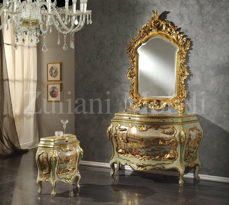 Comò, comodini e specchio della collezione Antica Venezia fatti e decorati a mano, #ZulianiMobili.