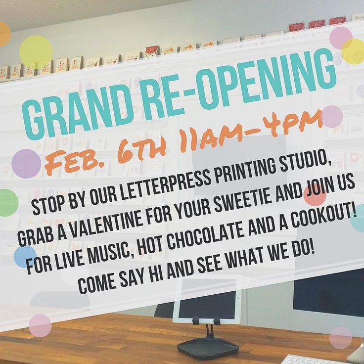 We're having a grand re-opening celebration on Saturday February 6th from 11am-4pm! Since we remodeled our studio space we wanted to invite you all in to see what we do. We'll have some live music to promote our music lessons a cook-out hot chocolate and you can stop in the studio and browse our letterpress card selection and see our antique letterpress in action. We hope you can stop by to say hello! #staugustine #staugustinebeach #letterpress #letterpresslove #greetingcards #cards…