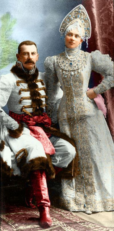 THE BALL OF 1903 ~ Gowns for masquerade ~ Parents of Felix Yusupov, murderer of Grigoriy Rasputin in the gowns of Russian nobles of the 17th century // The couple survived in Revolution and left Russia for Rome. Their descendants still live in Greece.