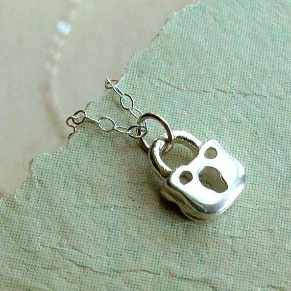 Padlock Necklace  Tiny  Sterling Silver  Padlock by andyshouse