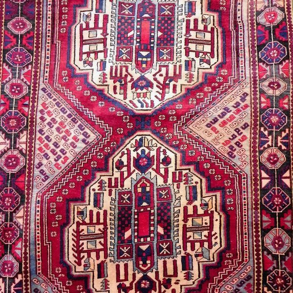 This gorgeous piece of art hails from the city of Hamadan ~ situated north-west of the Iranian Plateau. It is also notable that Hamadan is revered as perhaps the most significant center for rug making in Iran.  Hamadans are in general distinguished by their central medallion of a geometric form and are incredibly hard wearing.  This rug is expertly handwoven from fine wool and is 40 – 50 years old.   Woven from Fine Wool.  Size: 176cm (l) x 125cm (w)Free Delivery in South Africa