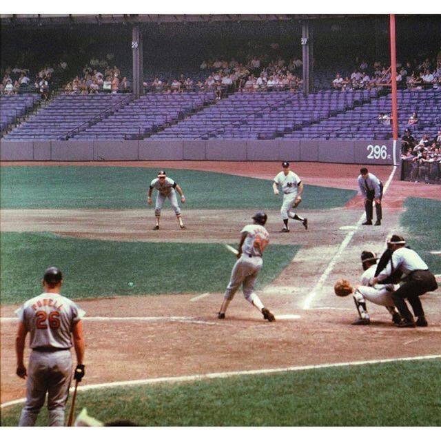 Orioles vs Yankees in the original Yankee Stadium. Sparse crowd