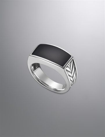 Detail on the side + flat top. But with square shape.   Sterling silver and black onyx ring. Men's Jewelry | David Yurman