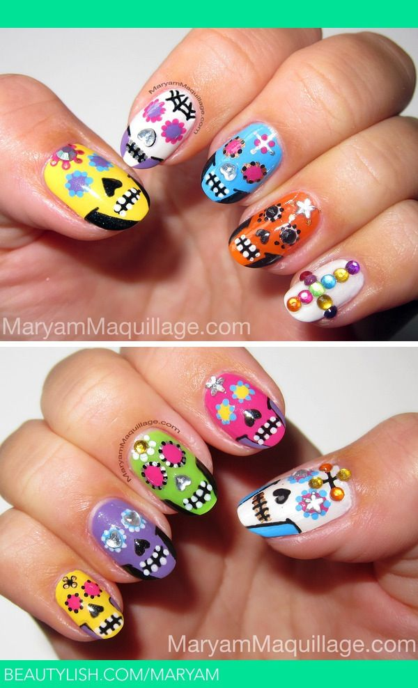 Best 25 sugar skull nails ideas on pinterest skull nail designs candy skulls made of sugar are part of the day of the dead tradition placing prinsesfo Images