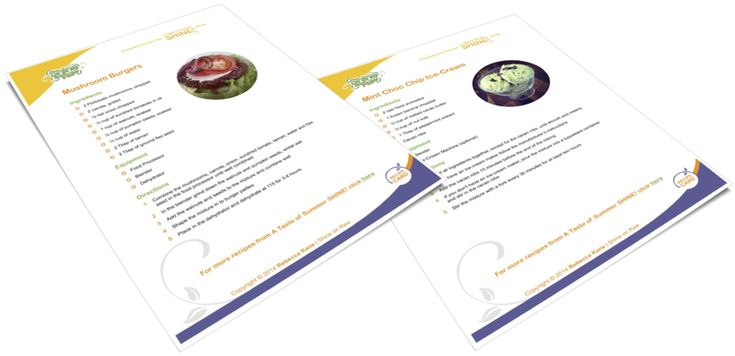 Mushroom burgers and choc chip ice cream recipe cards for you