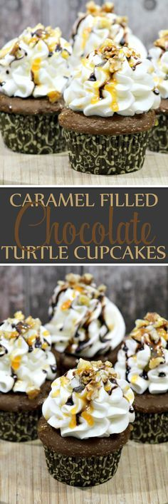 Easy Caramel Filled Chocolate Turtle Cupcakes - So full of chocolate and caramel flavor - Love, love, love this recipe!