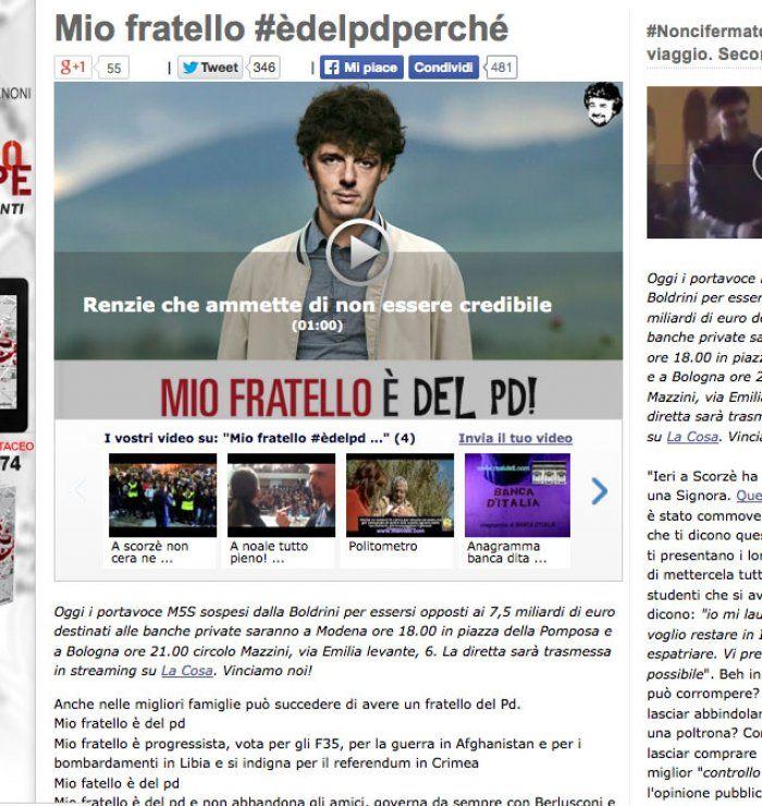 """Grillo all'attacco del Pd e dei suoi elettori: """"Mio fratello #èdelpdperché"""""""