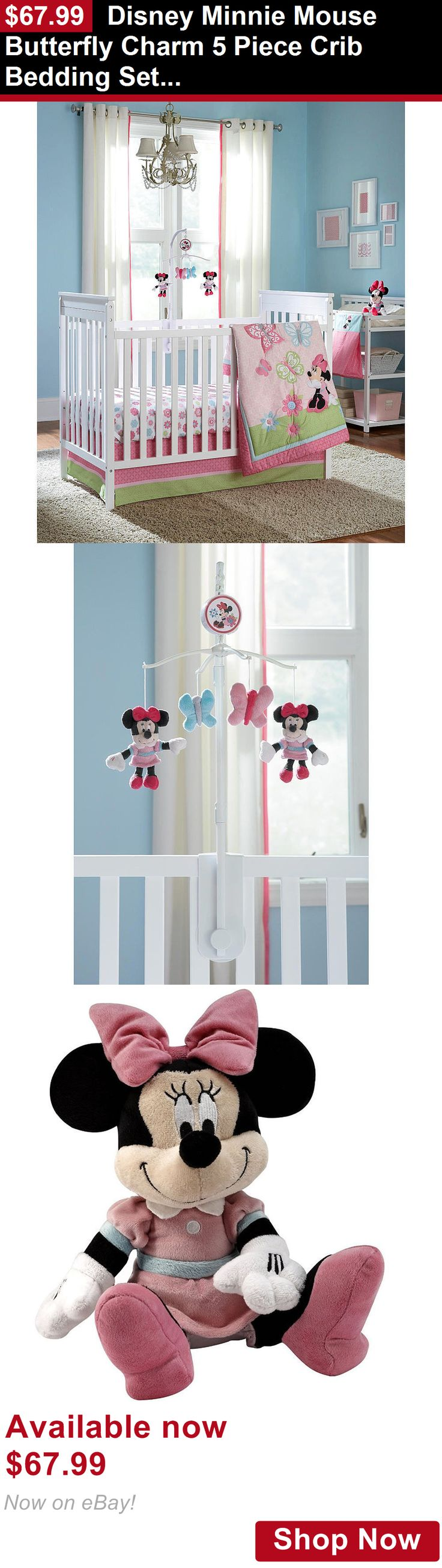 Nursery Bedding Sets: Disney Minnie Mouse Butterfly Charm 5 Piece Crib Bedding Set W Mobile BUY IT NOW ONLY: $67.99