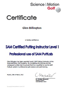 We will help you become trained with the SAM putt lab, a specific qualification accepted and admired by many golfers, coaches and putting experts.