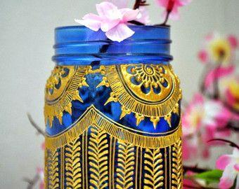 Teal marroquí tarro de masón linterna adornada por MoroccanHennaArt