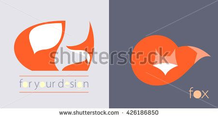 Red Fox with fluffy tail logo icon - vector illustration, symbol sign - stock vector