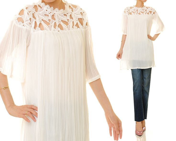 White Crinkle Pleated Chiffon Shoulder Lace Mini Tunic Dress - One Size Fits S/M 8080 by Tailored2Modesty on Etsy