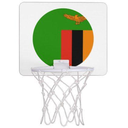 Zambia Flag Mini Basketball Hoop - personalize gift idea special custom diy or cyo