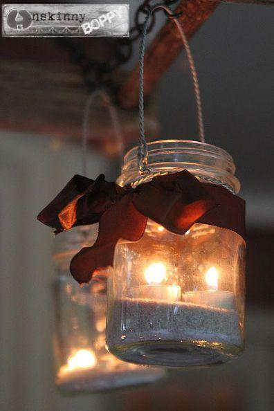 cómo crear una lámpara de araña albañil patio tarro, tarros de cristal, vida al aire libre, patio, reutilización upcycling, arena de la cinta y velitas en un tarro de albañil Perfecto