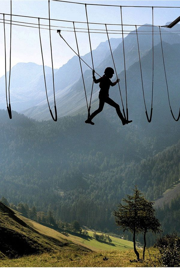 Skywalking in the Alps   Looks like fun!