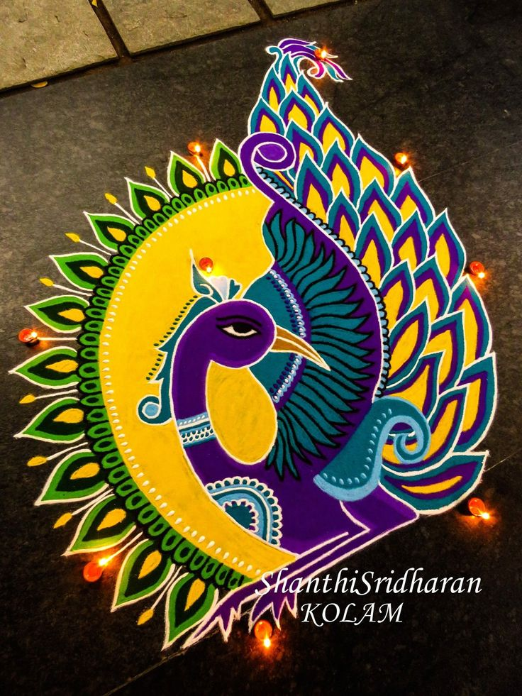 #peacock#mandala#kolam#rangoli#yellow#purple#green#round