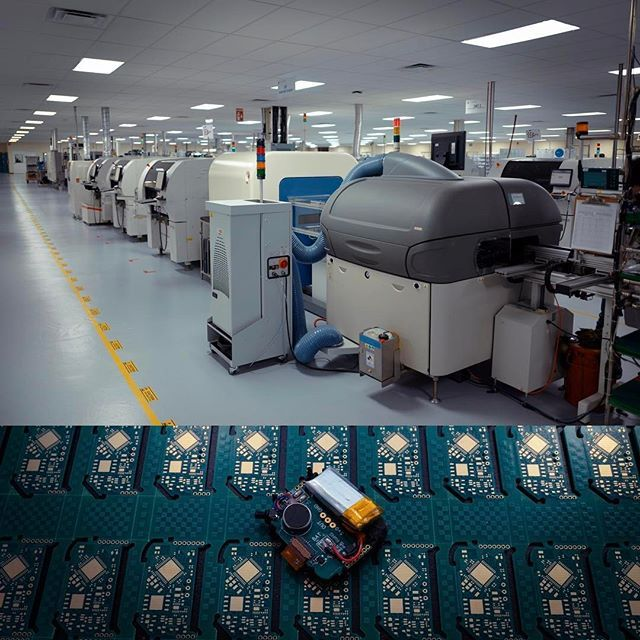 Our SMT line (top) producing our printed circuit boards (down). Surface-mount technology is a method for producing electronic circuits in which the components are mounted or placed directly onto the surface of PCBs. #visualscheduling #usecase #hardware #hax #maker #iot #startup #kid #familytech #wearable #iconbasedwatch #OctopusWatch #smartkids #innovation #watch #educational #toys #educationaltoys